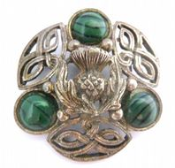 Vintage Faux Malachite Celtic Thistle Design Brooch By Miracle.